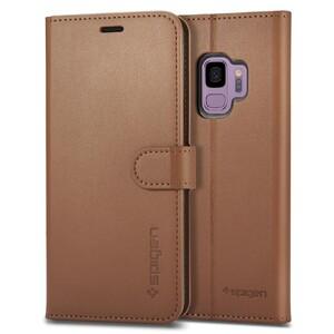 Купить Кожаный чехол-книжка Spigen Wallet S Coffee Brown для Samsung Galaxy S9