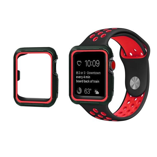 Ремешок + чехол iLoungeMax Sport Band Black | Red для Apple Watch 38mm Series 3 | 2 | 1