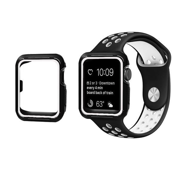 Ремешок + чехол iLoungeMax Sport Band Black | White для Apple Watch 38mm Series 3 | 2 | 1