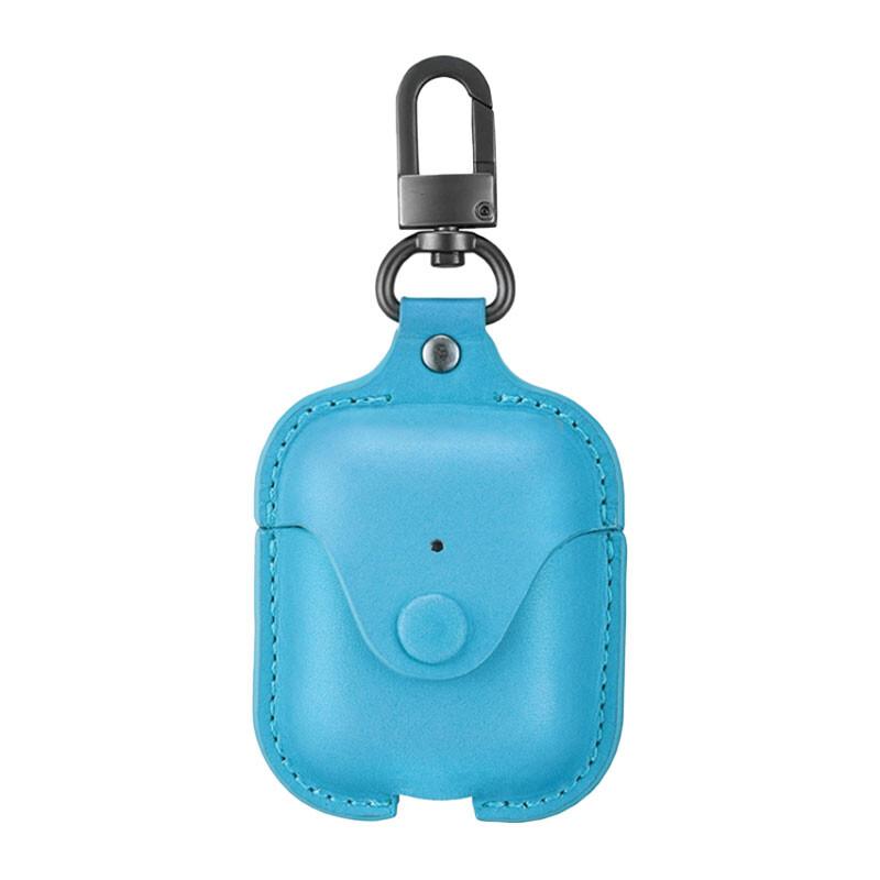 Кожаный чехол с карабином ESR Oxford Leather Blue для Apple AirPods