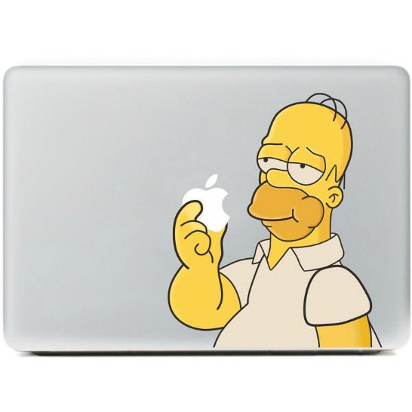 Наклейка Гомер Симпсон ест яблоко для MacBook