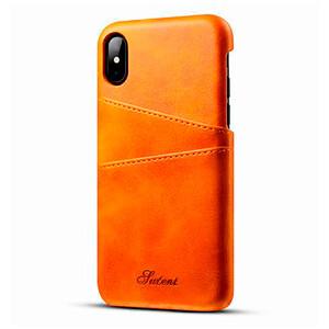 Купить Кожаный чехол с отделениями для карт Sutent Orange для iPhone X/XS