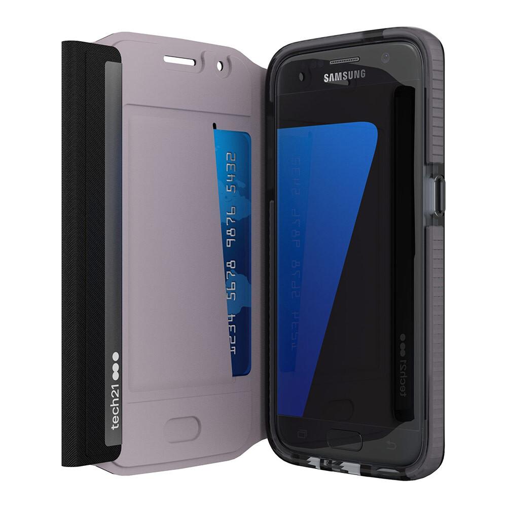 Ультратонкий флип-чехол Tech21 Evo Wallet Black для Samsung Galaxy S7