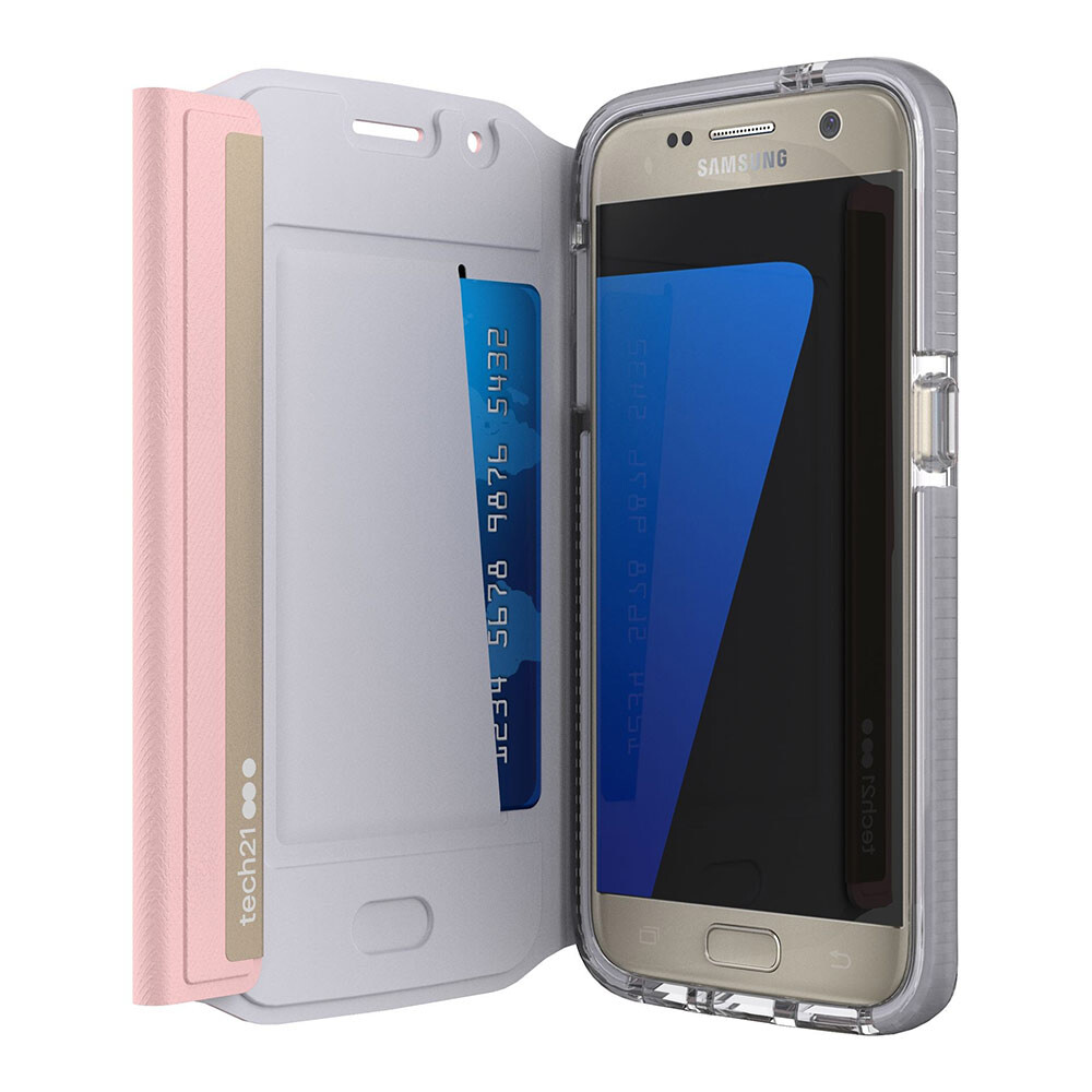 Ультратонкий флип-чехол Tech21 Evo Wallet Pink для Samsung Galaxy S7