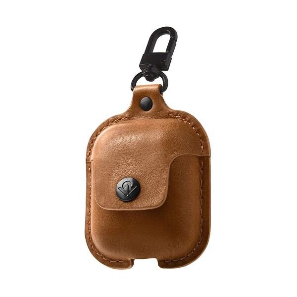 Кожаный чехол с карабином Twelve South AirSnap Cognac для Apple AirPods