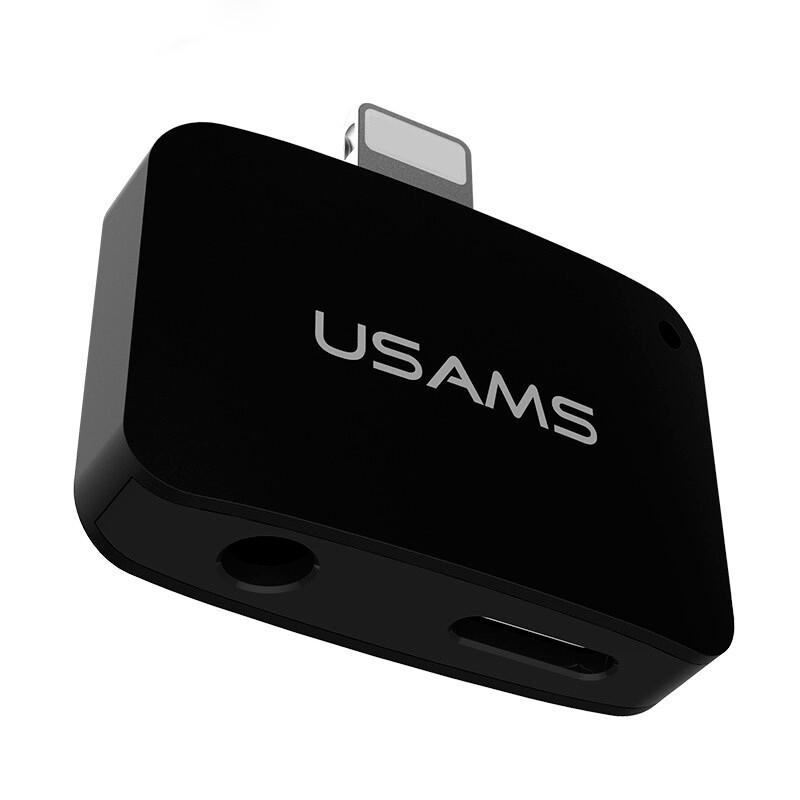 Переходник USAMS 2 in 1 Lightning to Lightning/3.5mm для iPhone 7/ 7 Plus