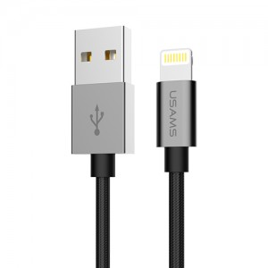 Купить Плетеный кабель USAMS US-SJ080 Black Lightning to USB