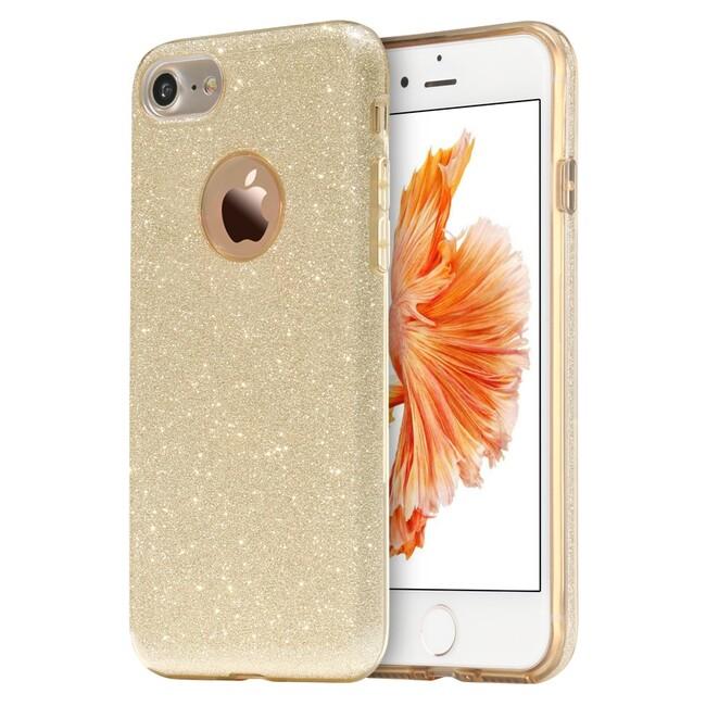 Чехол силиконовый с розово-золотыми блёстками для iPhone 7