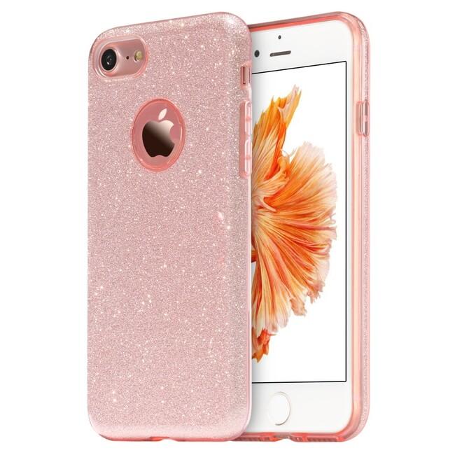 Чехол силиконовый с розовыми блёстками для iPhone 7