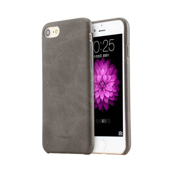 Ультратонкий кожаный чехол USAMS Touch Series Dark Gray для iPhone 7/8