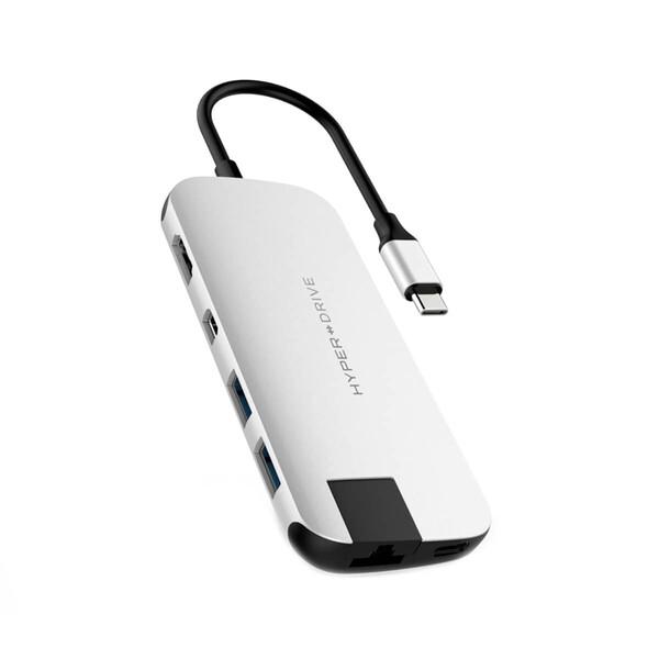 Хаб (адаптер) HyperDrive SLIM 8-in-1 USB-C PD 4K30Hz HDMI Hub для MacBook | iPad Silver