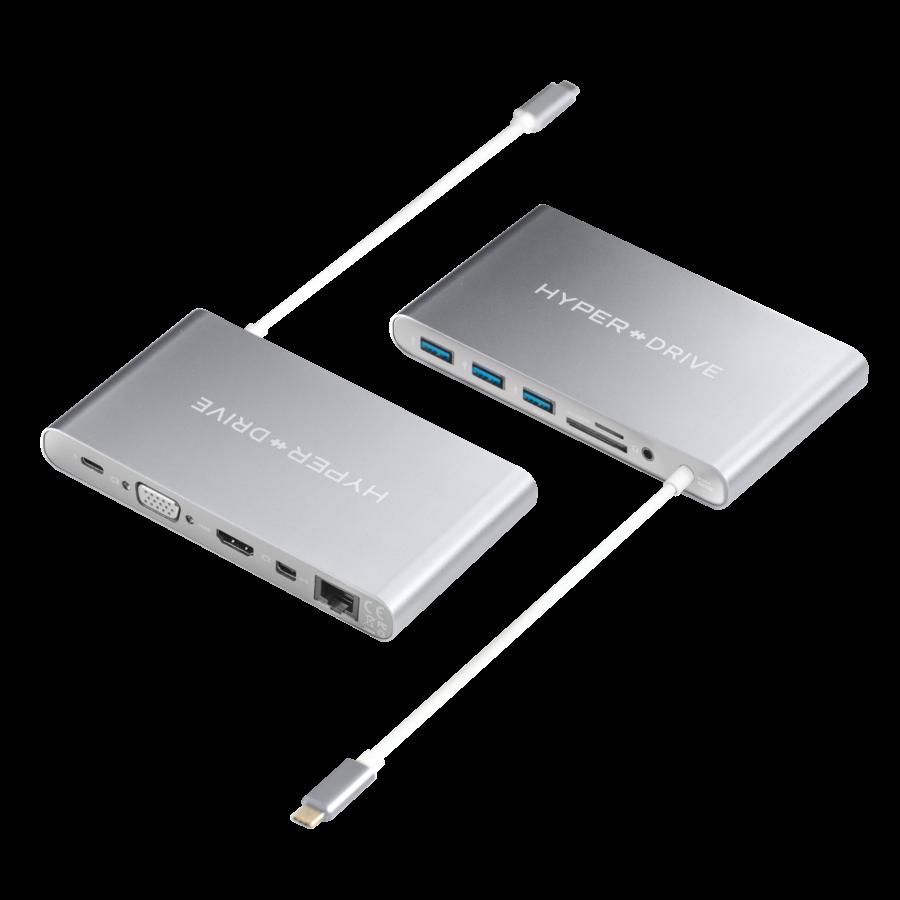 Хаб (адаптер) HyperDrive Ultimate 11-in-1 USB-C PD 4K30Hz HDMI для MacBook | iPad Silver