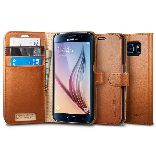 Чехол Spigen Wallet S Brown для Samsung Galaxy S6