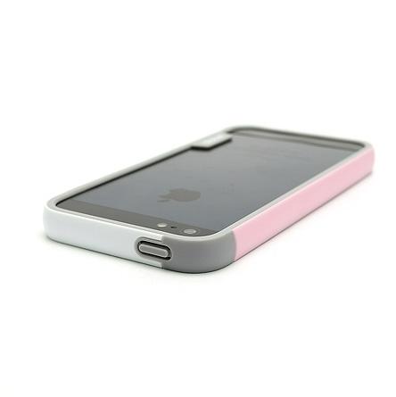 Бампер Zenus Walnutt Bumper Trio Pink/White для iPhone 5/5S/SE
