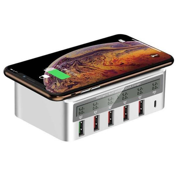 Беспроводное зарядное устройство Wireless Charger Staction PD18W QC3.0 6 ports