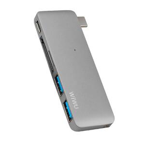 Купить  Алюминиевый концентратор WIWU Type-C Hub T6 5 в 1 Gray