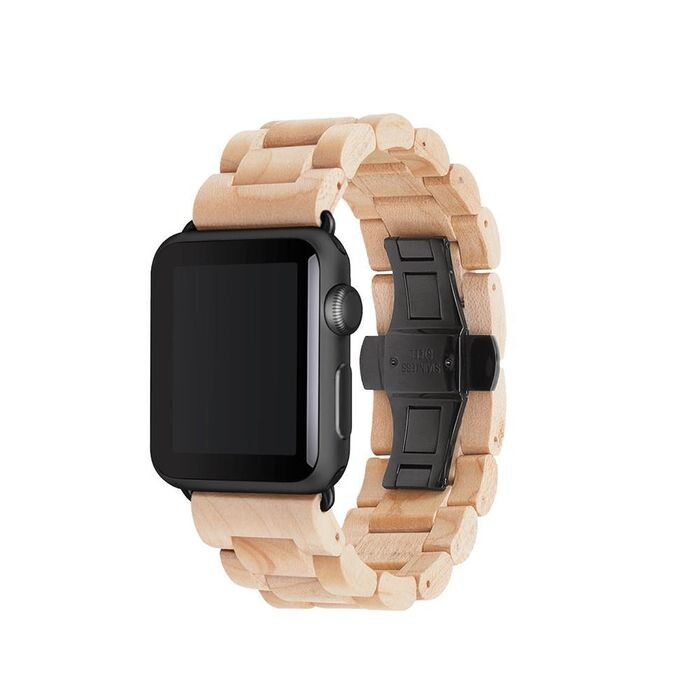 Деревянный ремешок Woodacessories Ecostrap Maple   Black для Apple Watch 42   44mm Series 1   2   3   4   5