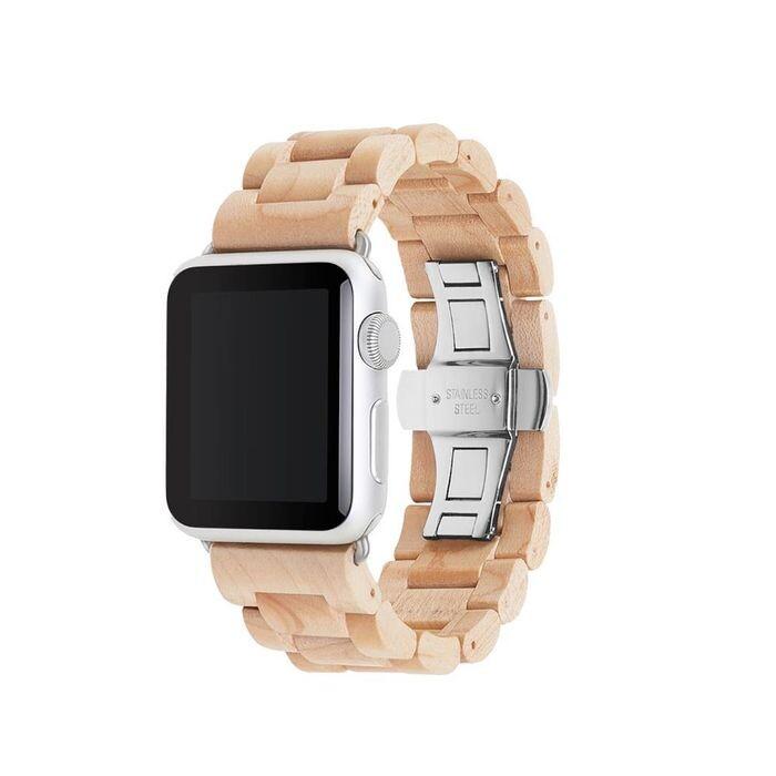 Деревянный ремешок Woodacessories Ecostrap Maple   Silver для Apple Watch 42   44mm Series 1   2   3   4   5