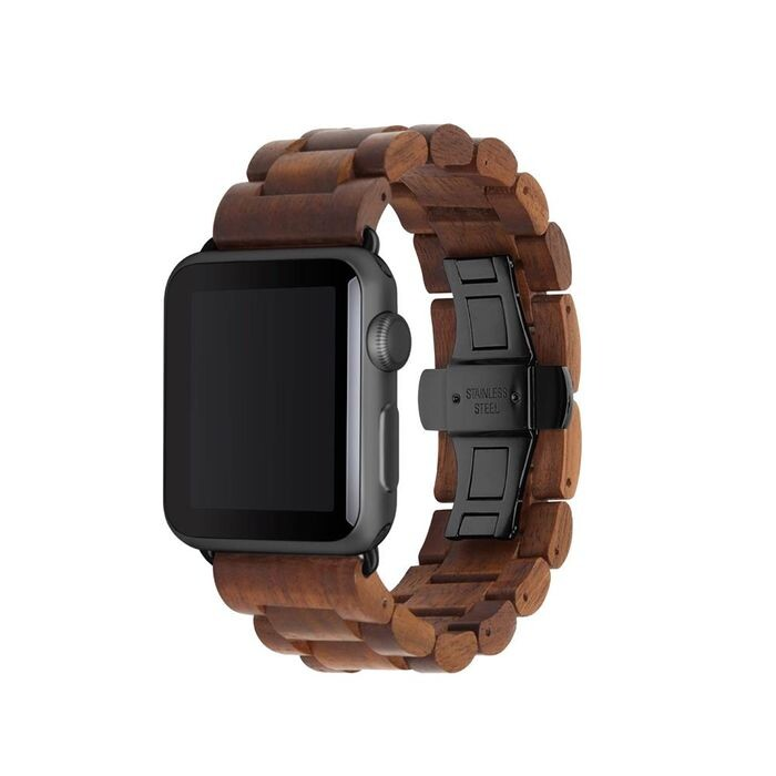 Деревянный ремешок Woodacessories Ecostrap Walnut   Black для Apple Watch 42   44mm Series 1   2   3   4   5