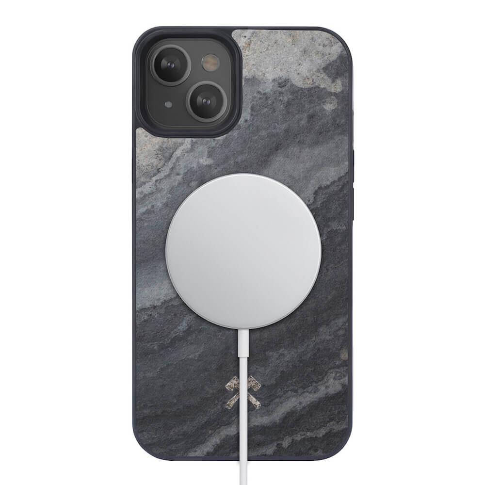 Чехол из натурального камня Woodcessories Bumper Case Camo Grey MagSafe для iPhone 13