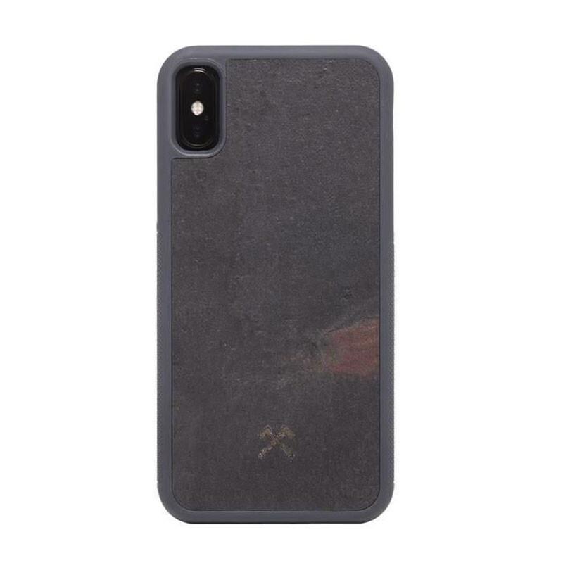 Чехол из натурального камня Woodcessories Bumper Case Stone Volcano Black для iPhone X   XS