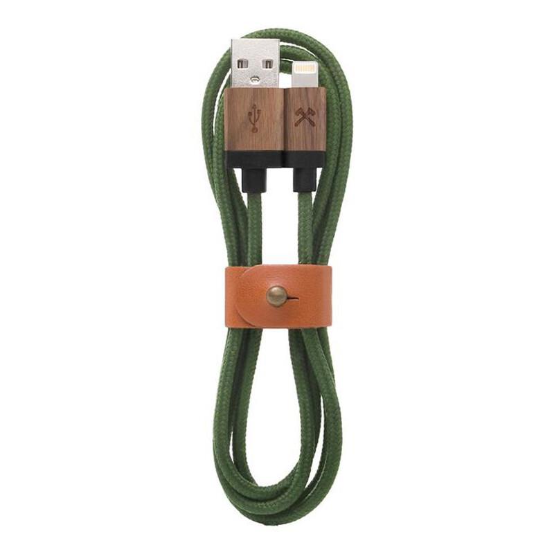 Нейлоновый кабель из натурального дерева Woodcessories EcoCable Lightning to USB Green 1.2m