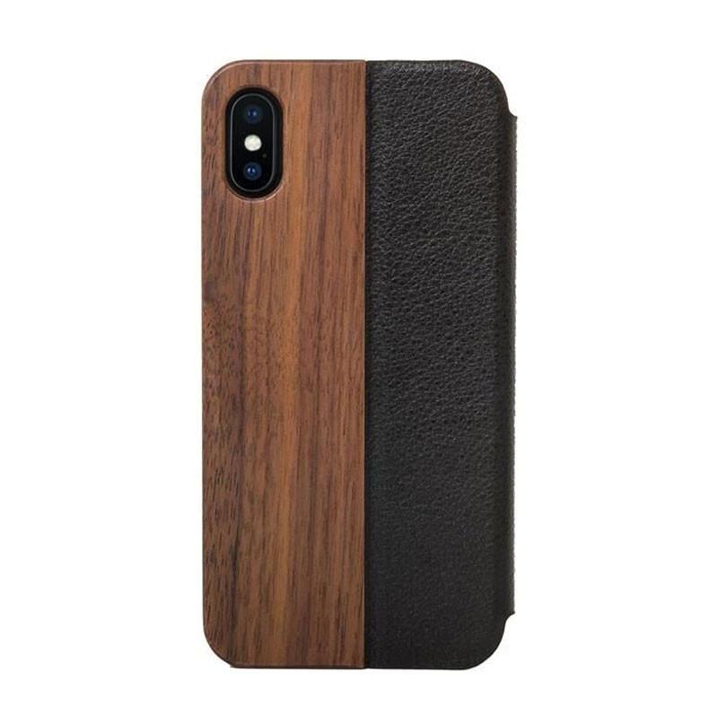 Деревянный чехол-книжка Woodcessories EcoFlip Walnut для iPhone X   XS