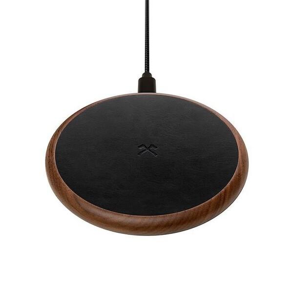 Беспроводная зарядка из дерева Woodcessories EcoPad Walnut | Leather для iPhone | Samsung | AirPods