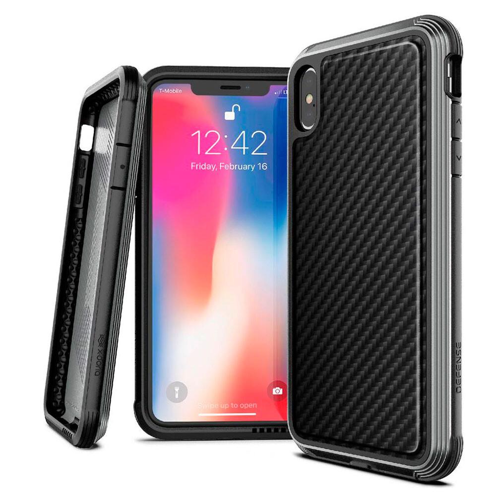 Противоударный чехол X-Doria Defense Lux Black Carbon для iPhone XS Max