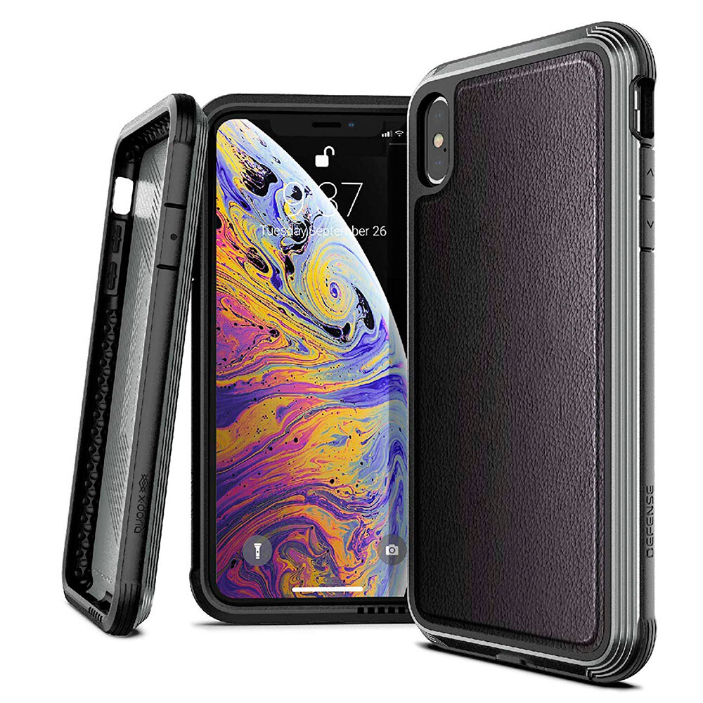Противоударный чехол X-Doria Defense Lux Black Leather для iPhone XS Max