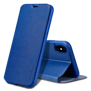 Купить Кожаный чехол-книжка X-Level FIB COLOR Blue для iPhone X/XS