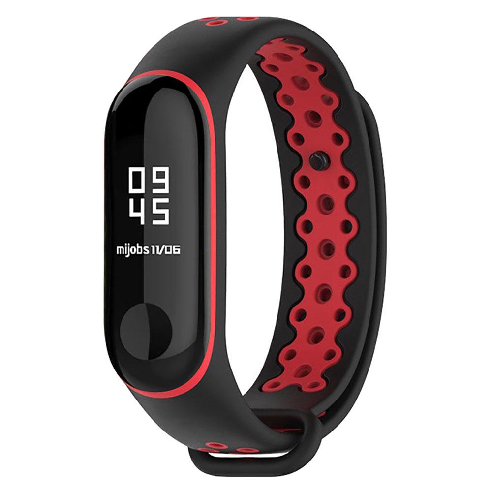Купить Силиконовый ремешок Mijobs Sport Black | Red для фитнес-браслета Xiaomi Mi Band 3 | 4