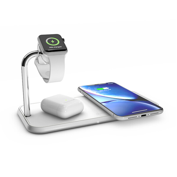Беспроводное зарядное устройство Zens Dual + Watch Aluminium White 20W
