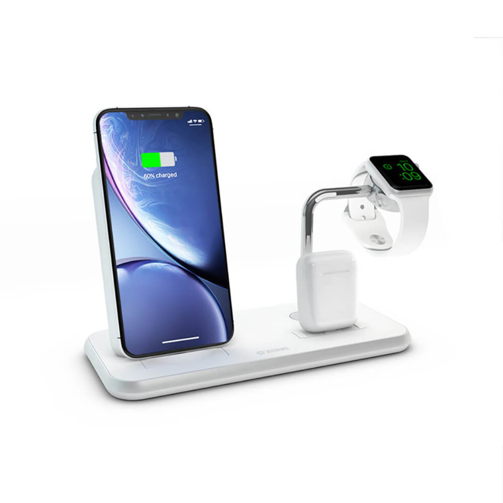 Купить  Беспроводное зарядное устройство Zens Stand + Dock + Watch Aluminium Wireless Charger White 10W