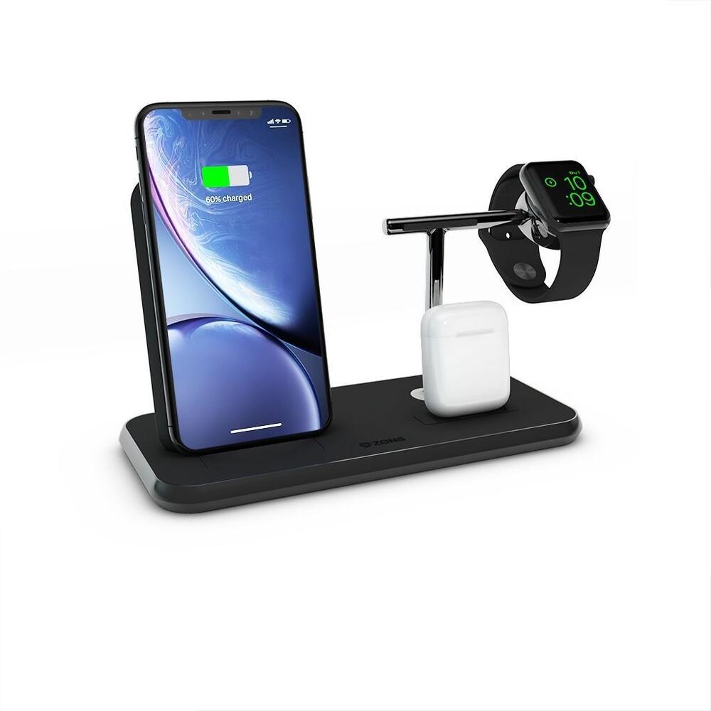 Купить  Беспроводное зарядное устройство Zens Stand + Dock + Watch Aluminium Black 10W
