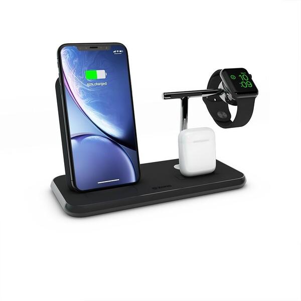 Беспроводное зарядное устройство Zens Stand + Dock + Watch Aluminium Black 10W
