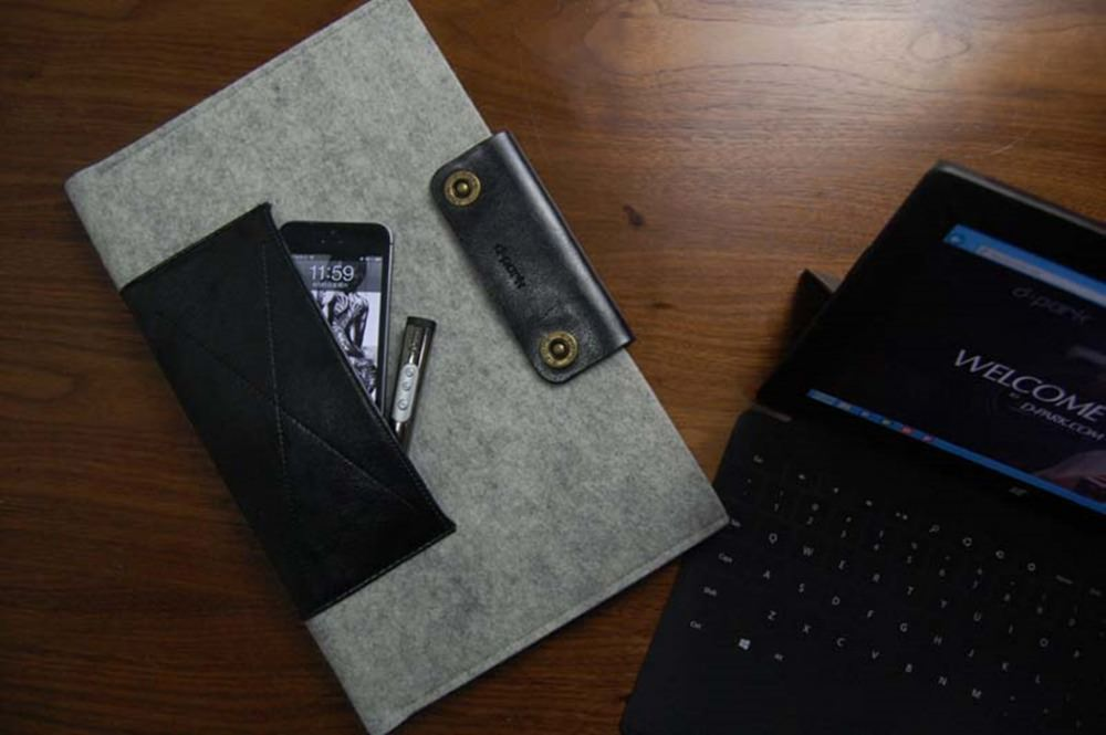 D-park luxury genuine leather woolfelt macbook Air