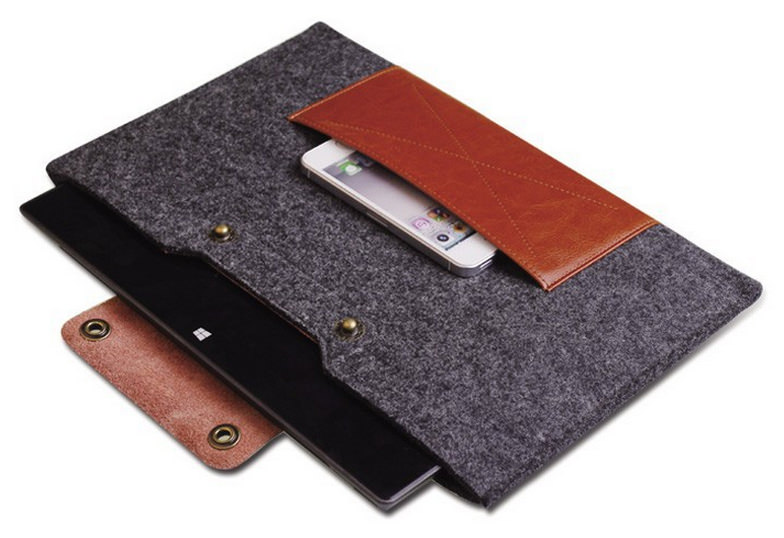 чехол luxury Genuine Leather Woolfelt для Macbook Air 11