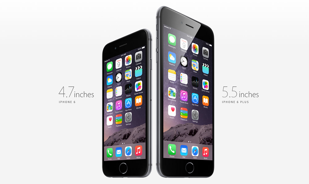 4.7 дюйма iPHONE 6 и iPHONE 6 PLUS 5.5 дюймов