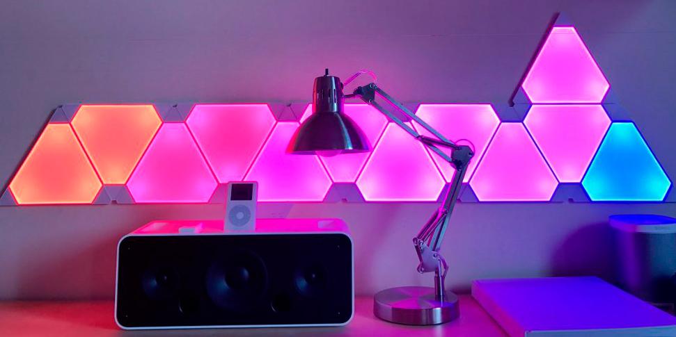 Картинки по запросу Комплект из светодиодного светильника Nanoleaf Light Panels и музыкального модуля Nanoleaf Rhythm